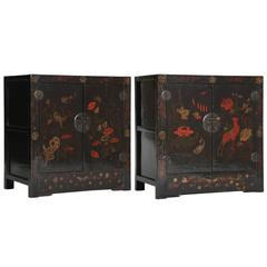 Chinese Pair of Painted Lacquer Cabinets 'Chests', Seasons Floral Paintings