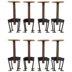 Rare Set of Eight Bar Stools by Arpad Földessy, 1980s