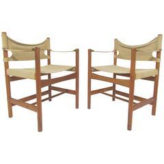 Pair of Danish Safari Sling Armchairs by Borge Mogensen, circa 1960s