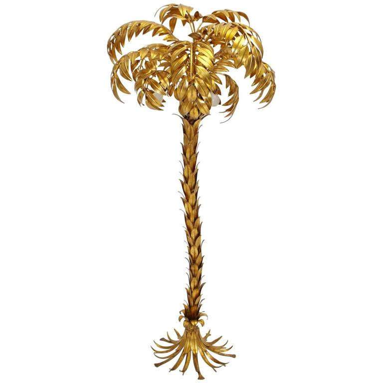 Golden Palm Tree Floor Lamp by Hans Kögl 1970s Germany