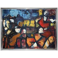 Multicolored Mid-Century Oil Painting, 1963