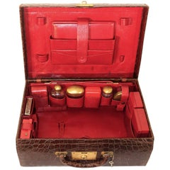 Art Deco Brown Vintage Alligator Leather Case, 1920s
