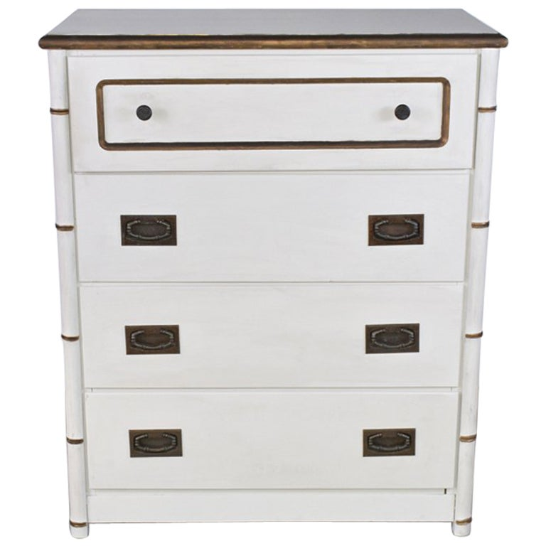 Chest of Drawers with Faux Bamboo Detailing