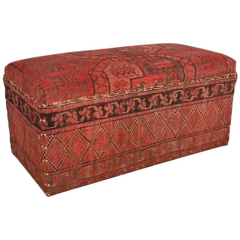 Padded Bench Covered with Antique Carpet