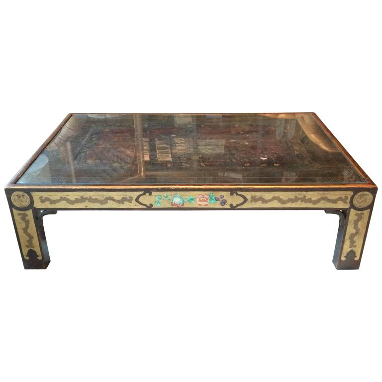 Impressive Polychrome Decorated Chinoiserie Style Monumental Coffee Table For Sale At 1stdibs