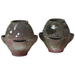 """Pot-Bellied"" Pair of Cement Planters, France, 1950s"