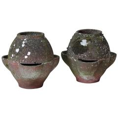 """""""Pot-Bellied"""" Pair of Cement Planters, France, 1950s"""