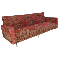 Kilim Covered Mid-Century Modern Florence Knoll Style Sofa