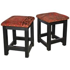 Pair of Contemporary Kilim Covered Stools