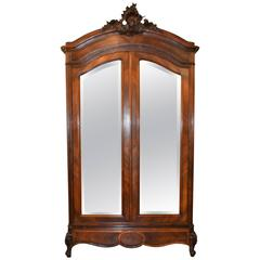 Louis XV Style Rosewood Inlay Armoire with Mirrored Doors