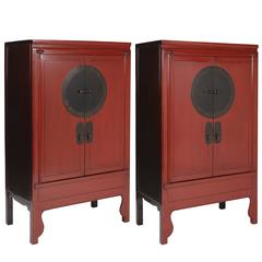 Antique Chinese Chinoiseri Pair Red Lacquer Ju Mu Wedding Cabinets, Round Plate
