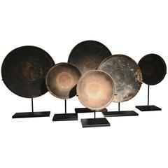 Set of Six Etruscan Terracotta Plates and Bowls on Iron Stand 7th-5th Century BC