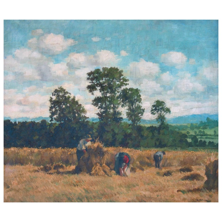Georg Egmont Oehme, Oil on Canvas, Titled Harvest Time, (German 1890-1955) For Sale
