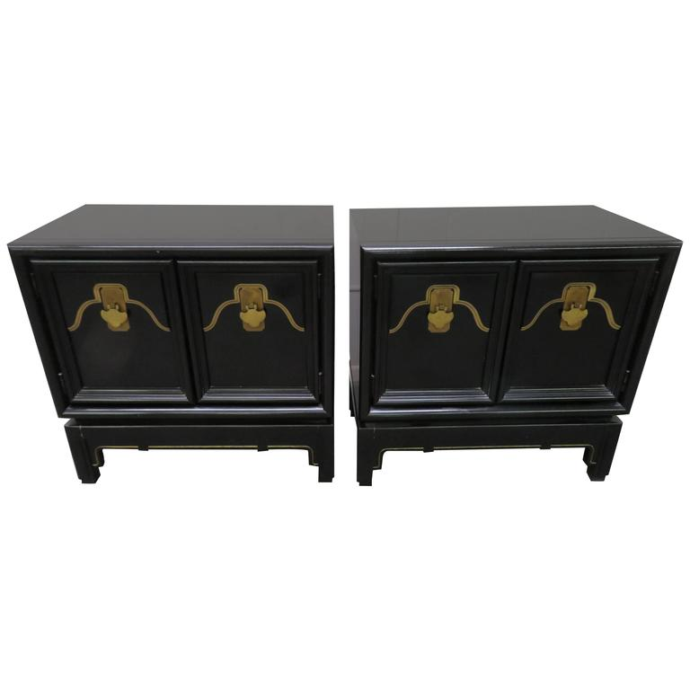 Pair of Chinoiserie Style Asian Modern Lacquered Nightstands, Mid-Century
