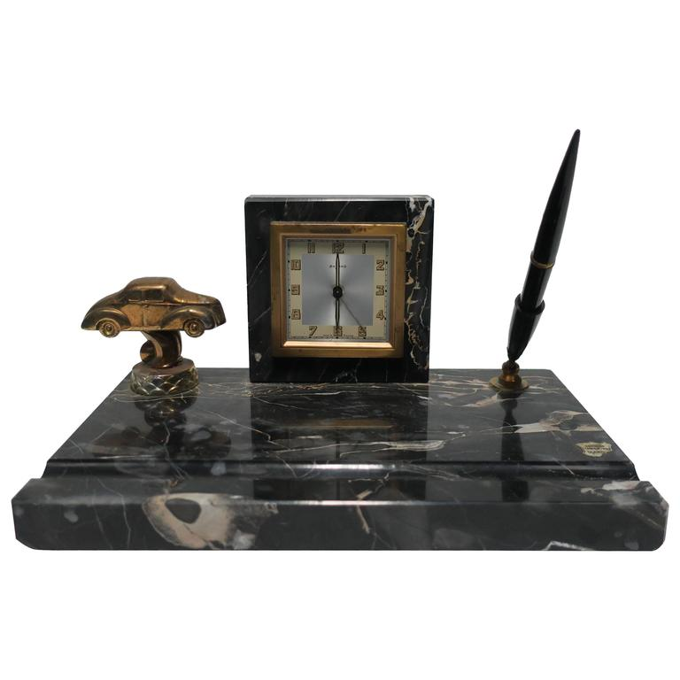 French Art Deco Black Marble Clock And Pen Desk Set