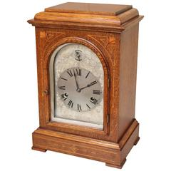 Edwardian Oak and Inlay Bracket Clock