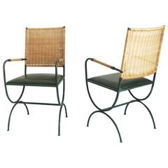 Pair of Jacques Adnet Chairs, Wicker, Leather and Iron, 1950s