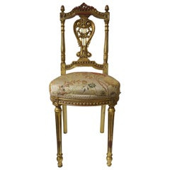 Gold Giltwood Upholstered Chair in the Louis XVI Style