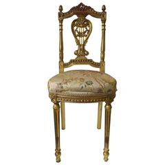 Beautiful Vintage Louis XVI Style Gold Giltwood Upholstered Chair