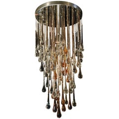 Exceptional Drops Chandelier in the Style of Venini, 1970s