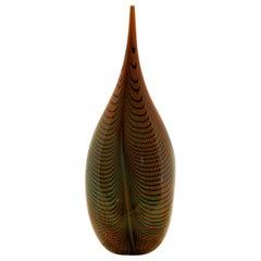 Alberto Donà, Tall Feather Vase, Black Green Filigree over Terracotta Background