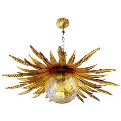 Large Wheat Sheaf Sunburst Design Chandelier, 1960s Modernist Pendant Lamp