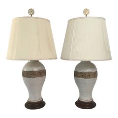 Pair of Ugo Zaccagnini Italian Pottery Lamps