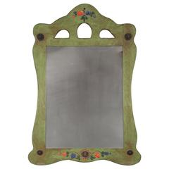 1930s Monterey Green Triple Cutout Mirror