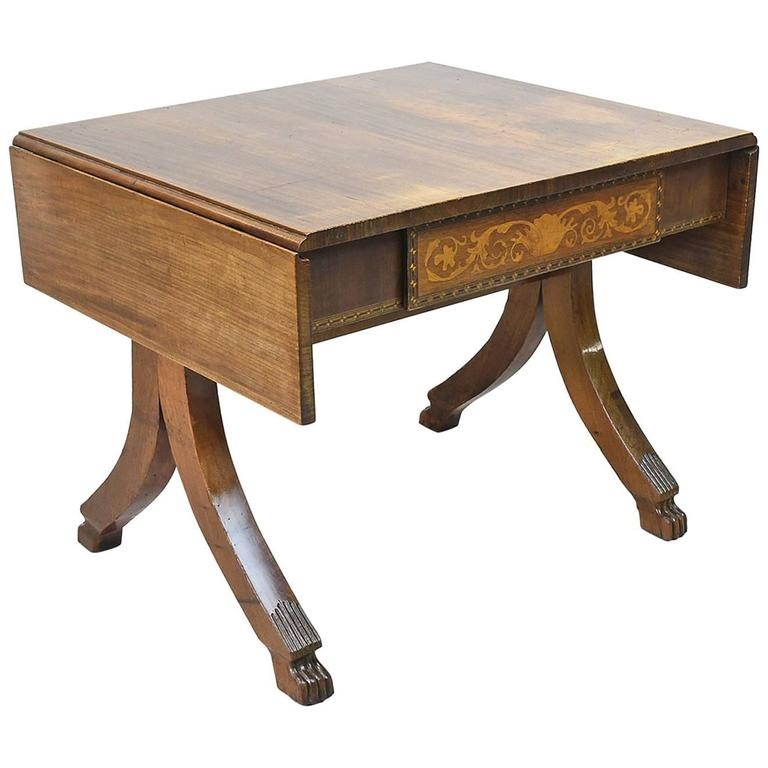 19th Century French Empire Writing Table in Mahogany with Marquetry