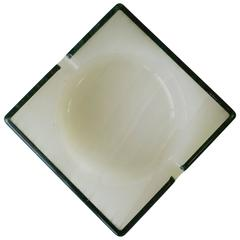 Modern Italian White Alabaster and Green Marble Ashtray or Vessel, Italy