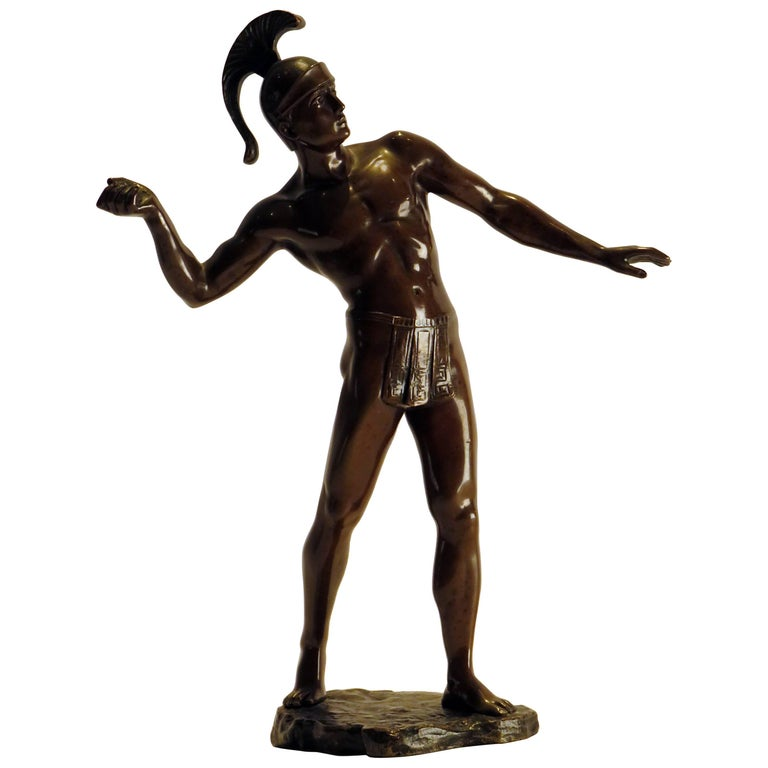 Bronze Semi Nude Male Warrior Signed Schmidt-Felling, circa 1900