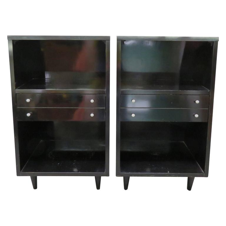 Pair of american of martinsville lacquered nightstands for Modern nightstands for sale