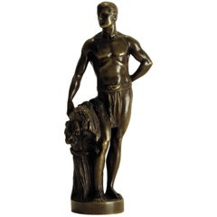 Late 19th Century Bronze of an Semi Nude Male Farmer, Europe, circa 1890