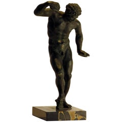 Grand Tour Bronze Satyr with Cymbals on Marble Base, circa 1880, Italy