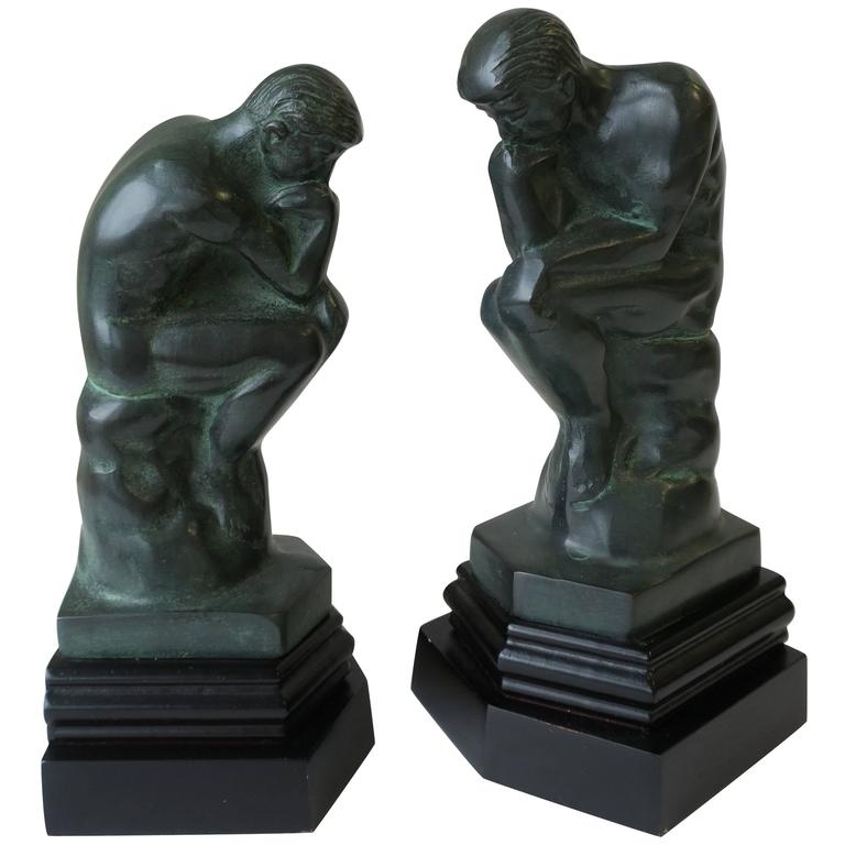 Pair of Black and Green Male Sculpture Bookends For Sale