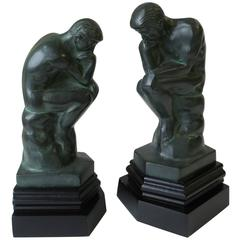 Pair of Vintage Black and Green Male Sculpture Bookends