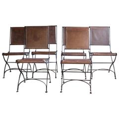 Set of Six Italian Mid-20th Century Leather and Iron Folding Chairs