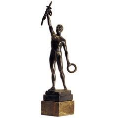 Julius Schmidt-Felling Bronze Victorious Semi Nude Male, Germany, 1900