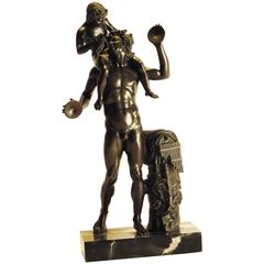 Large Grand Tour Bronze of Man with Young Bacchus, circa 1880