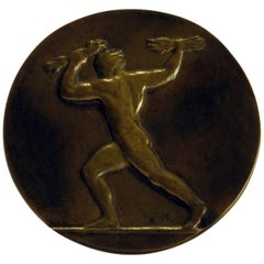 Large Bronze Medal of a Male Nude, circa 1915