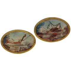 Pair of French Oval Oil Paintings Art and Music, 19th Century