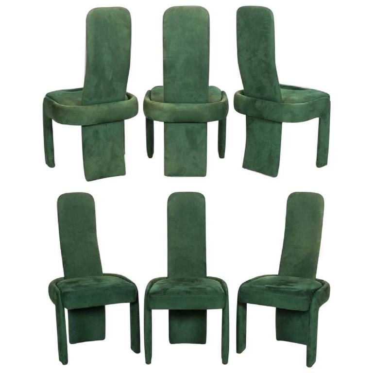 Set of Six Modernist Dining Chairs in the Style of Kagan