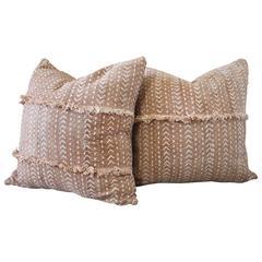 Pair of Antique African Mud Cloth Burnt Orange Rust Pillows