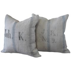 Pair of 19th Century Antique Linen Grain Pillows with Monograms