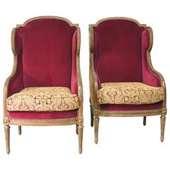 Pair of French 19th Century Louis XVI Style Bergeres or Wingback Chairs