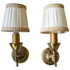 Charming Pair of Neoclassical Bronze Sconces, France, 1950s