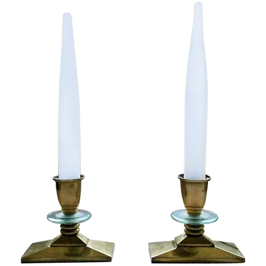 French Art Deco Gilt Bronze Candlestick Style Table Lamps