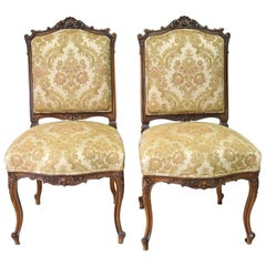 Pair of 19th Century French Louis XV Style Carved Walnut Chairs with Upholstery