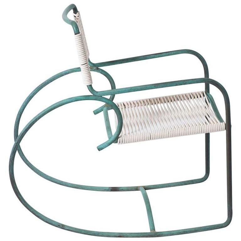 Single Walter Lamb Bronze and Rope Patio Rocking Chairs