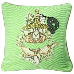 "Unique Handmade Bohemian Green Crystal Cushion ""The Sophia Rose"""